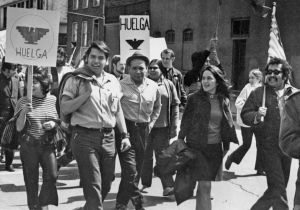 Eliseo Medina, left and Dolores Huerta at a 1971 march in Chicago. family photo